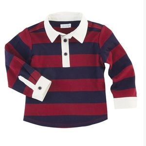 Mud Pie long sleeve red and blue rugby style shirt